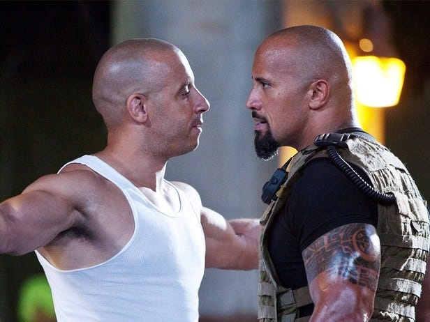 "Vin Diesel and Dwayne ""The Rock"" Johnson butted heads while filming ""The Fate of the Furious"" in 2017"